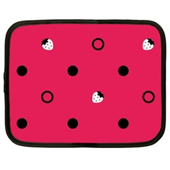 Strawberry Dots Black With Pink Netbook Case (xl) by strawberrymilk