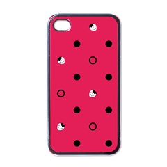 Strawberry Dots Black With Pink Apple Iphone 4 Case (black) by strawberrymilk