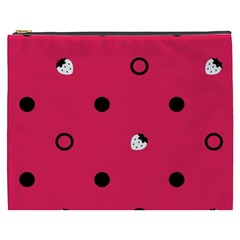 Strawberry Dots Black With Pink Cosmetic Bag (XXXL) by strawberrymilk