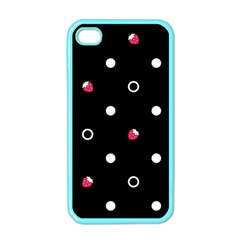 Strawberry Dots White With Black Apple Iphone 4 Case (color) by strawberrymilk