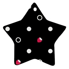 Strawberry Dots White With Black Ornament (star) by strawberrymilk