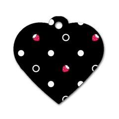 Strawberry Dots White With Black Dog Tag Heart (two Sides) by strawberrymilk