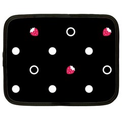 Strawberry Dots White With Black Netbook Case (xxl) by strawberrymilk