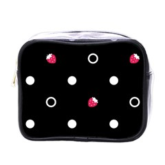 Strawberry Dots White With Black Mini Toiletries Bag (one Side) by strawberrymilk