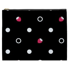 Strawberry Dots White With Black Cosmetic Bag (XXXL) by strawberrymilk