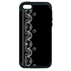 Strawberry Lace Black With White Apple Iphone 5 Hardshell Case (pc+silicone) by strawberrymilk