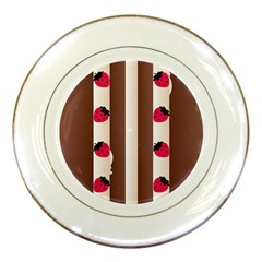Choco Strawberry Cream Cake Porcelain Plate by strawberrymilk