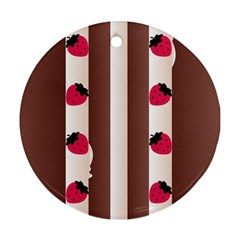 Choco Strawberry Cream Cake Round Ornament (two Sides) by strawberrymilk