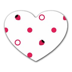 Strawberry Circles Pink Mouse Pad (heart) by strawberrymilk