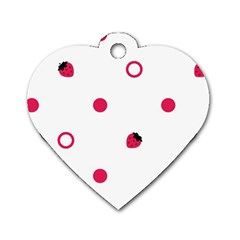 Strawberry Circles Pink Single Sided Dog Tag (heart) by strawberrymilk