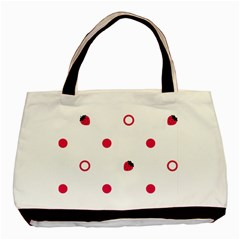 Strawberry Circles Pink Twin Sided Black Tote Bag by strawberrymilk