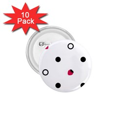 Strawberry Circles Black 10 Pack Small Button (round)