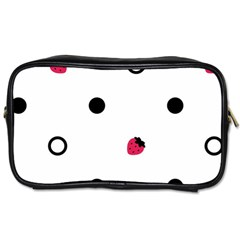 Strawberry Circles Black Twin Sided Personal Care Bag by strawberrymilk