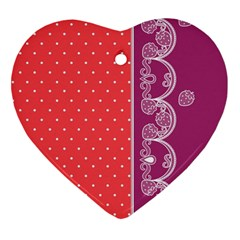 Lace Dots With Violet Rose Ornament (Heart) by strawberrymilk