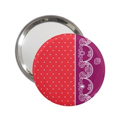 Lace Dots With Violet Rose 2 25  Handbag Mirror by strawberrymilk