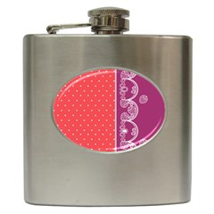 Lace Dots With Violet Rose Hip Flask (6 Oz)
