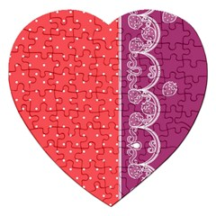 Lace Dots With Violet Rose Jigsaw Puzzle (heart) by strawberrymilk