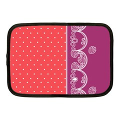 Lace Dots With Violet Rose Netbook Case (medium) by strawberrymilk