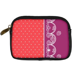Lace Dots With Violet Rose Digital Camera Leather Case
