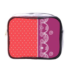 Lace Dots With Violet Rose Mini Toiletries Bag (one Side) by strawberrymilk