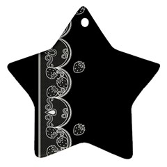 Strawberry Lace White With Black Ceramic Ornament (star)
