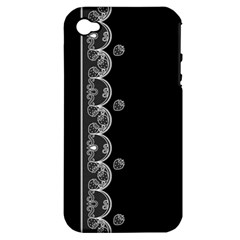 Strawberry Lace White With Black Apple Iphone 4/4s Hardshell Case (pc+silicone) by strawberrymilk