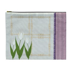 White Tulip With Purple Cosmetic Bag Xl By Zornitza   Cosmetic Bag (xl)   Eq0gg7uszm6s   Www Artscow Com Front