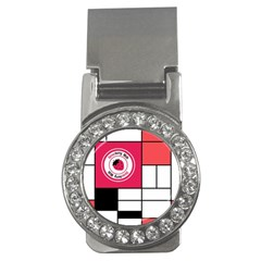 Brand Strawberry Piet Mondrian White Money Clip With Gemstones (round)