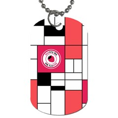 Brand Strawberry Piet Mondrian White Twin Sided Dog Tag