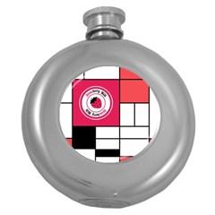 Brand Strawberry Piet Mondrian White Hip Flask (round)