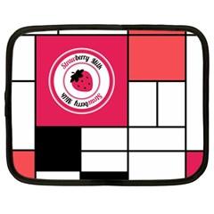 Brand Strawberry Piet Mondrian White 12  Netbook Case