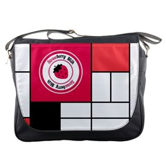 Brand Strawberry Piet Mondrian White Messenger Bag