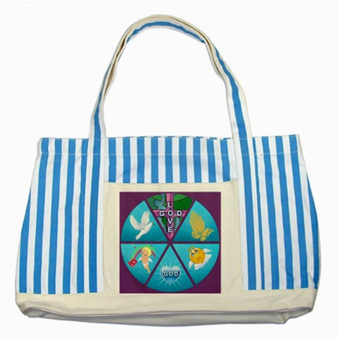 Inspirational Tote 5 By Joy Johns   Striped Blue Tote Bag   44r6a56lhys2   Www Artscow Com Front