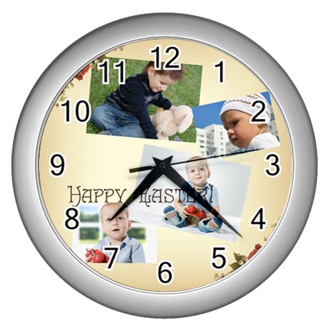 Easter By Easter   Wall Clock (silver)   J33yhzuzhtno   Www Artscow Com Front