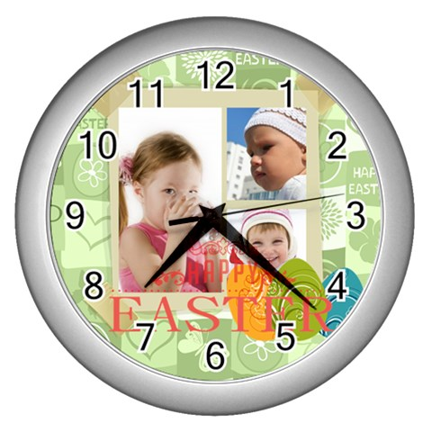 Easter By Easter   Wall Clock (silver)   Hchbrvcgj2t8   Www Artscow Com Front