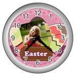 easter - Wall Clock (Silver)