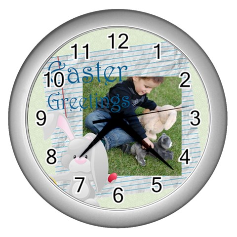 Easter By Easter   Wall Clock (silver)   Yp0bjmd41omm   Www Artscow Com Front