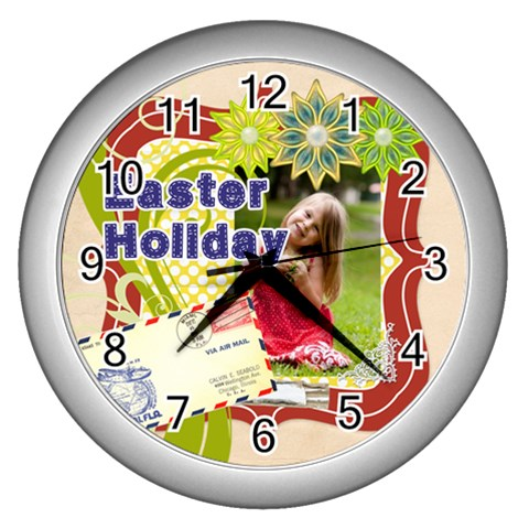 Easter By Easter   Wall Clock (silver)   2yfce9urk6j2   Www Artscow Com Front