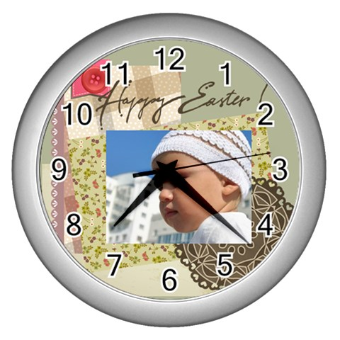 Easter By Easter   Wall Clock (silver)   Er8pp2x38rvv   Www Artscow Com Front