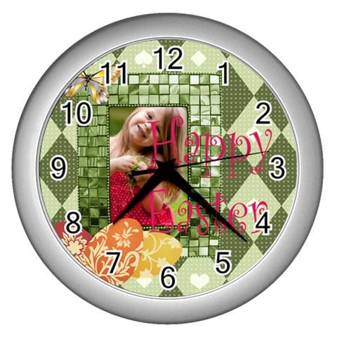 Easter By Easter   Wall Clock (silver)   Jfdhxr7t7pe2   Www Artscow Com Front