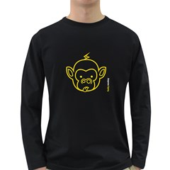 Funkymonkey Yellow Outline Long Sleeve Dark T Shirt