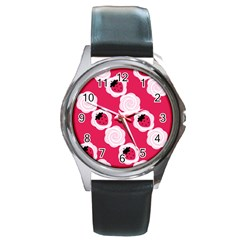 Cake Top Pink Round Metal Watch