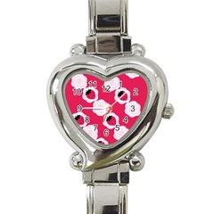 Cake Top Pink Heart Italian Charm Watch by strawberrymilk