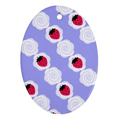 Cake Top Blueberry Oval Ornament (two Sides)