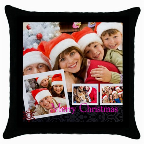 Merry Christmas By Angena Jolin   Throw Pillow Case (black)   I09k03kkbijh   Www Artscow Com Front