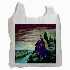 Jesus Overlooking Jerusalem By Ave Hurley  Single Sided Reusable Shopping Bag by ArtRave2