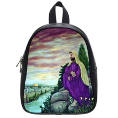 Jesus Overlooking Jerusalem By Ave Hurley  Small School Backpack by ArtRave2