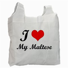 I Love My Maltese Single Sided Reusable Shopping Bag by sugar
