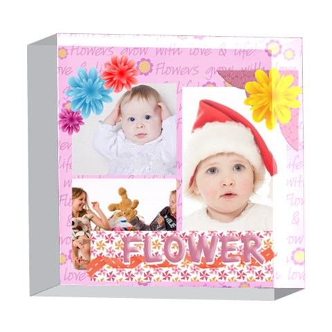 Flower Kids By Betty   5  X 5  Acrylic Photo Block   46x3a8ni0jh1   Www Artscow Com Front