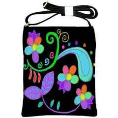 Dancing Flowers Painted Shoulder Bag Cross Shoulder Sling Bag by paintedpurses
